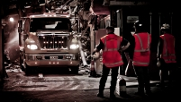 Demolition site truck
