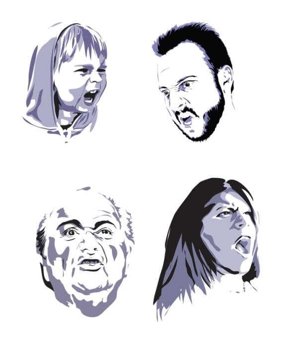 Exercise in Illustrator, faces expressing anger