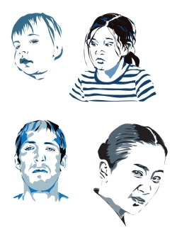 Exercise in Illustrator, faces expressing contempt