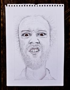 stippled ink dot portrait