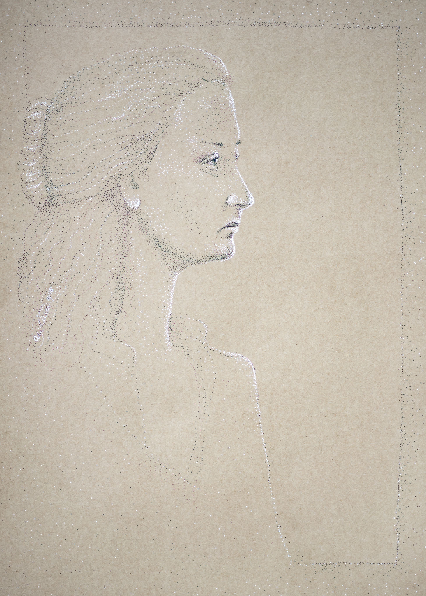 ink stippled portrait