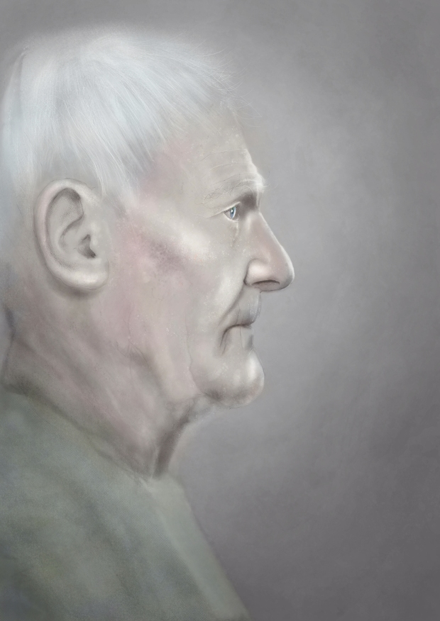 Digital painting of an older man