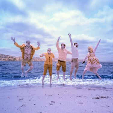Five friends jumping IR camera