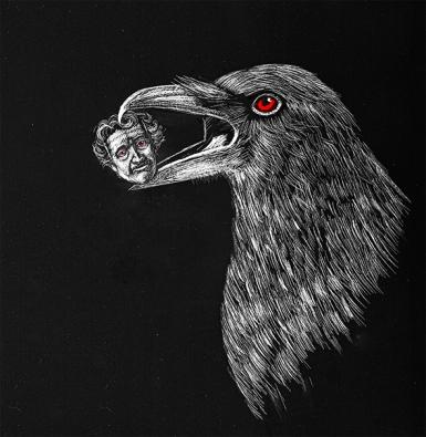 Scratchboard raven holding Poe's head