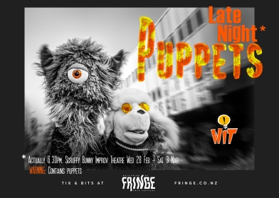 show poster with two puppets